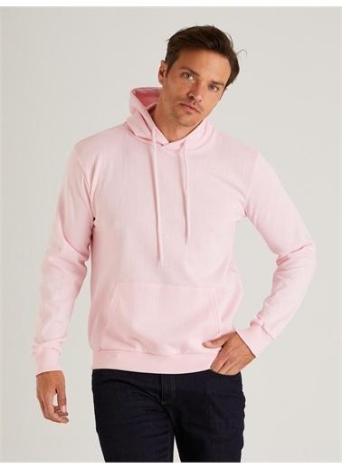 Dufy Kapüşonlu Kanguru Ceplı Erkek Sweatshirt - Slim Fit Pembe